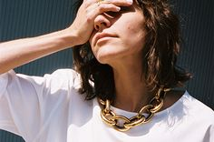 METAL CHAIN NECKLACE, OLD GOLD