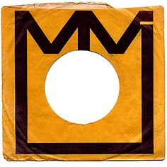 lovely bold use of type to create an abstract crown? on this TMK Midland International Records, Inc. simple record company sleeve.