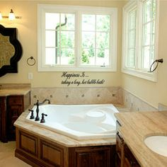 Happiness Is taking a long hot bubble bath Vinyl Wall Decal Sticky Decor Letters Small Bathroom, Master Bathroom, Bathroom Ideas, Bathroom Makeovers, Kitchen Makeovers, Master Bathtub Ideas, Relaxing Bathroom, Natural Bathroom, Master Shower