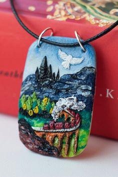 Harry Potter necklace, Hogwarts Express. Polymer clay handmade pendant