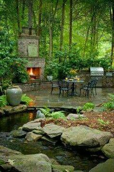 wooded garden surrounds patio with a fireplace and water feature . Water feature and patio with an outdoor fireplace! Ponds Backyard, Backyard Patio, Backyard Landscaping, Landscaping Ideas, Backyard Fireplace, Fireplace Ideas, Patio Ideas, Garden Ideas, Backyard Ideas