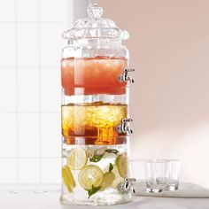 Stacked Optic-Glass Beverage Server - modern - serveware - - by Horchow Modern Serveware, Contemporary Serveware, Must Have Kitchen Gadgets, Must Have Gadgets, Kitchen Must Haves, Drink Dispenser, Drink Holder, Glass Dispenser, Cool Gadgets