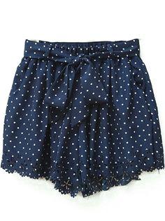 Navy Polka Dot Print Cut Out Hem Chiffon Shorts US$20.48