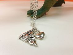 I Love Pizza Necklace / Silver Jewelry / by smallvictorydesign, $12.00
