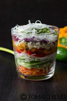 Spring Roll Salad In A Jar- Vietnamese rolls inspired deconstructed spring roll salad with a delicious umami flavored dressing. Vegan. Gluten Free.