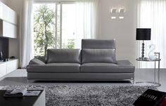 K8484 Modern Dark Grey Italian Leather Sofa - Stylish Design Furniture