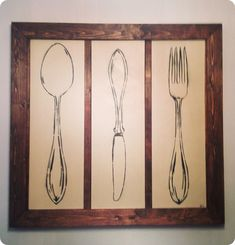 Wood Framed Flatware Kitchen Art {Pottery Barn knock off}