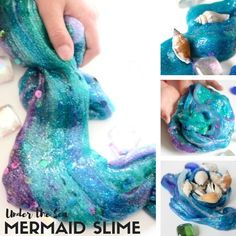 Learn how to make mermaid slime perfect for under the sea theme or ocean theme activities. Our homemade slime recipe is great for sensory play and science!