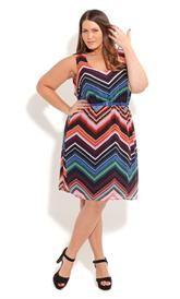 Plus Size Rainbow Stripe Dress image
