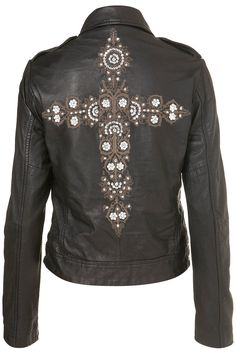 Cross Embroidered Biker Jacket - Embellishment - We Love - Topshop