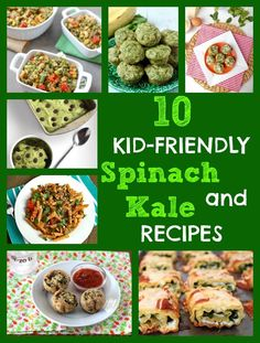 Get your kids excited about eating healthy greens by trying one of these 10 kid-friendly spinach and kale recipes! @Mom to Mom Nutrition- Katie Serbinski, MS, RD