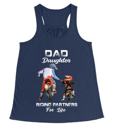 DAD AND DAUGHTER RIDING PARTNERS FOR LIF (Flowy Tank Top Women - Navy) #ideas #science #nature daughter quotes, father daughter, daughter photography, back to school, aesthetic wallpaper, y2k fashion