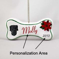 Great Dane Black Pet Dog Christmas Bone Ornament