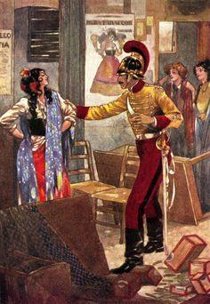"The Arrest of Carmen. From Prosper Mérimée's ""Carmen"". Illustration by René Bull (1915)"