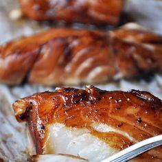 Baked Honey-Marinated Cod Recipe with black cod fillets, honey, low sodium soy sauce, oil, apple cider vinegar, freshly ground pepper, ginger