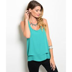 Green Chiffon Layered Racerback Top ($26) ❤ liked on Polyvore featuring tops, green chiffon top, blue chiffon top, chiffon layered top, twist top and blue sleeveless top