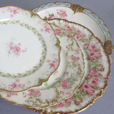 4 Antique HAVILAND Limoges Porcelain Plates PINK ROSES Swags + Blue Double GOLD