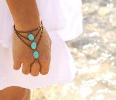 Boho Slave Bracelet Hand Bracelet Ring Hipster Bronze Chain Bohemian Three Turquoise Beads Triangle Chevron Hand Jewelry Piece. $15.00, via Etsy.