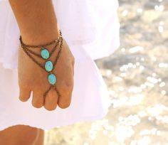 Boho Slave Bracelet Hand Bracelet Piece Ring Hipster Bronze Chain Bohemian Boho Three Turquoise Beads Triangle Chevron Hand Jewelry BRChloe by FunnyPeopleCo on Etsy