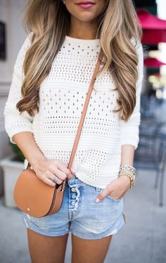 #summer #fashion / eyelet shirt + denim shorts