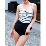 Wholesale Vintage Halterneck Ruffles Stripe One Piece Swimsuit For Women (STRIPE,M), Swimwear - Rosewholesale.com
