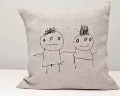 Hand  printed  on natural linen  boy and girl children by rasaoga