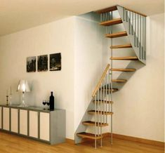 Interior: Smallest spiral staircase for narrow space. Modern Stairs. Build Stairs. Floating Stairs Ideas. Curved Stairs. Staircase Ideas.