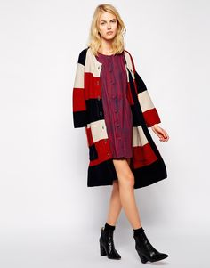 Image 4 ofIvana Helsinki Knitted Oversized Coat With Belt Detail