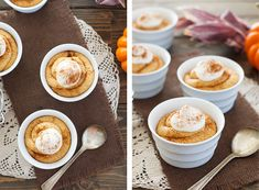 No Bake Pumpkin Cheesecake •1-1/2 cups heavy whipping cream •1 cup powdered sugar •1 teaspoon vanilla extract •6 ounces cream cheese •1 cup pumpkin puree (not pumpkin pie filling) •1-1/2 teaspoons ground cinnamon •½ teaspoon ground nutmeg •¼ teaspoon ground ginger •Pinch of ground cloves •Optional: ½ cup crushed up ginger snaps to line the bottom of the cups (but only if serving the same day, or they'll get soggy).