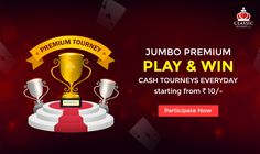JUMBO PREMIUM TOURNEY : Play & win cash tourneys everyday starting from just Rs. 10/-​  #rummy #classicrummy #rummytourney #rummytournament #playrummy #cashtournaments #onlinerummytournaments #tournaments