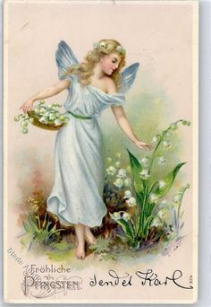 1906 Embossed Angel Pentecost Lilies of the Valley: Postcards Center Onlineshop Source by