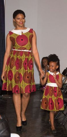 The Podot~Quistt Elegant Dress for Mother and Daughter ;ankara dress, African Ankara; African Red/Black Skirt; African Print Dress