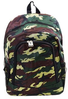 Camo Printed Canvas School Green Unisex Fashion Backpack