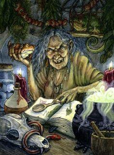 Witchcraft and Literature: Baba-Yaga - Leg-Bone Baba Yaga, Halloween Art, Halloween Pictures, Maleficarum, Witch Art, Wicked Witch, Evil Witch, Deviant Art, Dark Art
