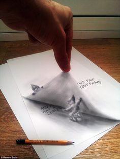 Unbelievable #3D #Drawings.  Folding Time. It may look like it, but the page isn't being folded - it's simply the illusion of the 3D drawing!