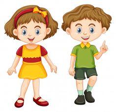 Happy boy and girl standing illustration , Happy Boy, Happy Girls, Lock Icon, Girl Standing, Clipart, Art Images, Vector Art, Adobe Illustrator, Boy Or Girl