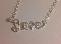 Love necklace, love word necklace, handmade necklace.