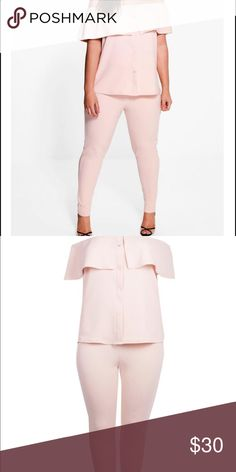 Baby pink 2 piece set Brand new 2 piece set from boohoo plus Boohoo Plus Pants Jumpsuits & Rompers