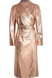 Metallic textured-leather trench coat