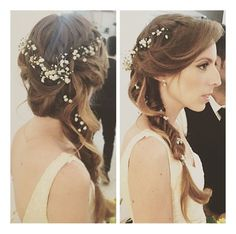 Gentle bridal style:loose,on the side, fishtail braid ,decorated with real flowers.on the top of the had meet two waterfall braids. Haircut Styles For Women, Short Haircut Styles, Best Short Haircuts, Popular Haircuts, Cool Haircuts, Long Hair Styles, Braided Hairstyles Tutorials, Headband Hairstyles, Pretty Hairstyles