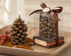 Pine Cone Candle Fall Wedding Favors affordableelegancebridal.com.. love this for a fall wedding! too cute!