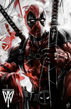 Deadpool by Wizyakuza Marvel Deadpool Movie, Deadpool Art, Marvel Comics Superheroes, Marvel Art, Marvel Characters, Marvel Heroes, Deadpool Wallpaper, Avengers Wallpaper, Marvel Tattoos