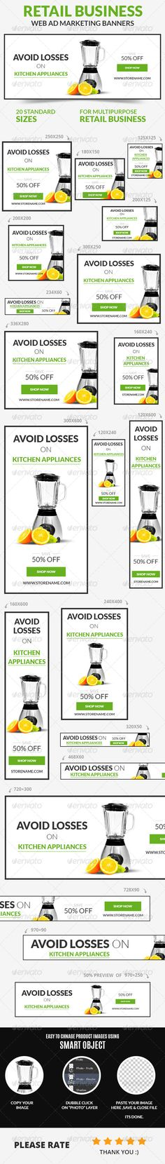 Retail Business Web Ad Marketing Banners Template PSD   Buy and Download…