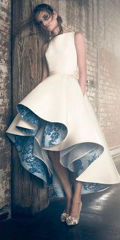 fashion forward beautiful wedding dresses high low sleeveless sareh nouri #weddingdress