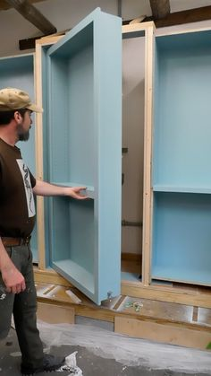 We're testing out a secret door for a bookcase we're building for an Asheville, NC author. Hidden Door Bookcase, Secret Door Bookshelf, Hidden Door Hinges, Secret Room Doors, Secret Rooms In Houses, Home Room Design, House Design, Hidden Spaces, Safe Room