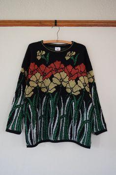 fa19c37c8e32f Vintage 80s Ugly Christmas Sweater Women s XL   Vintage 80s Disco Glitzy  Christmas Sweater   Ugly