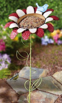 Metal Flower Stake Bird Feeder