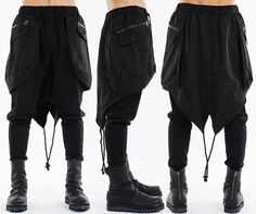 Bohemian Kilt Layered Drop Crotch Ribbed Legging by Ofelpan Streetwear Mode, Streetwear Fashion, Drop Crotch Pants, Cyberpunk Fashion, Drawing Clothes, Character Outfits, Overall, Dark Fashion, Pants Outfit
