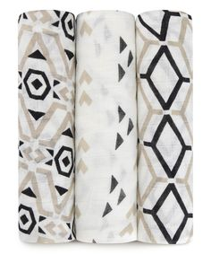 Another great find on #zulily! White & Gray Sienna Muslin Swaddling Blanket - Set of Three by aden + anais #zulilyfinds