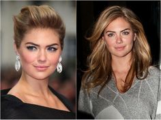 Women with round faces can wear updos to formal events and this trendy look on model Kate Upton the left is a great option for a classic updo. Note how pulling the bangs up high creates the illusion that Upton -- a natural round face -- has a more elongated face.
